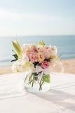 Messa a punto di nozze di spiaggia Immagini Stock