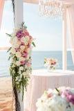 Messa a punto di nozze di spiaggia Fotografia Stock Libera da Diritti