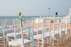 Messa a punto di nozze di spiaggia Fotografie Stock
