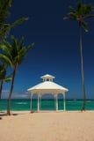 Messa a punto di nozze e palme sull'isola tropicale Fotografia Stock