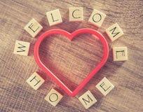 Message à la maison bienvenu Photo stock