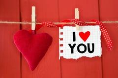 Message écrit je t'aime Photographie stock