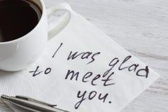 Message écrit sur la serviette Images stock