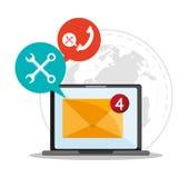 Message électronique et conception de communication illustration stock