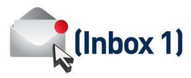 Message électronique neuf dans l'inbox Photographie stock libre de droits