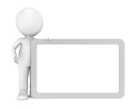 Message. 3d human character with a blank board for Copy Space. Steel Frame Royalty Free Stock Photography