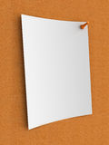 Message. White note on cork board Stock Image