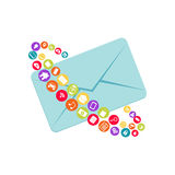 Message abstract symbol. Email. Digital marketing. Multimedia messages Royalty Free Stock Images