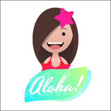 Message Aloha! Head avatar of the girl in bikini. vector illustration