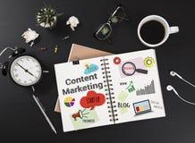 Message au sujet du marketing satisfait sur le livre d'affaires image stock