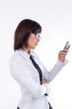 Message avec texte du relevé de femme d'affaires photos stock