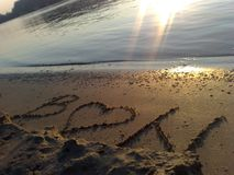 Message on the beach. Love message on Danube river beach, in Novi Sad city Serbia stock photography
