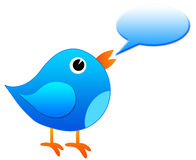 Message bird. Happy bird whistling a message (copyspace inside text balloon Stock Illustration
