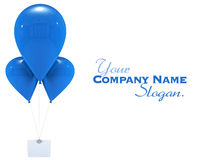 Message with blue balloons. 3D rendering of a label hanging from three blue flying balloons Stock Image