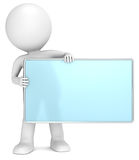 Message Board. 3D little human character The Messenger holding an empty Board. Frosted glass and chrome. People series Stock Photo