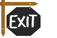 Message board. Displayed message of exit on black board attached wood sticks in isolate background stock illustration