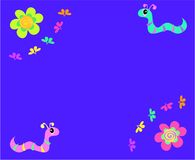 Message Board with Flowers and Worms Stock Photography
