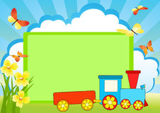 Message board and train. Royalty Free Stock Photos