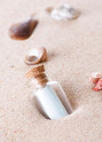 Message in a bottle. Closeup royalty free stock photo