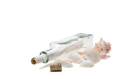 Message in a bottle. Concept over white background Stock Photo