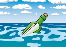 Message in a bottle. Illustration message in a bottle Royalty Free Stock Photo