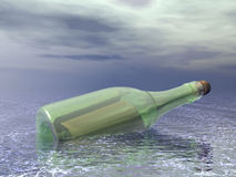 Message in a bottle. In the ocean Royalty Free Stock Photos