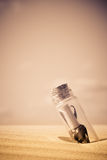 Message in a bottle. A message in a bottle - concept stock image