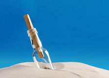 Message in a bottle. On the beach stock image