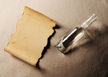 Message in a bottle. The paper is blank to put whatever message you desire royalty free stock image
