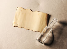 Message in a bottle. The paper is blank to put whatever message you desire Stock Images