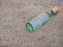 Message in a Bottle. A bottle that washed ashore in Asbury Park, NJ Royalty Free Stock Photo