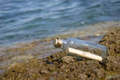 Message in a bottle. On the shore Royalty Free Stock Images