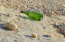 Message in a bottle. Bottle found on the shore of Audresselles, a French town on the opal coast royalty free stock image
