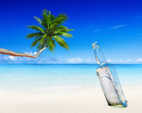 Message in a Bottle on Beach Royalty Free Stock Photography