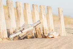 Message in a Bottle. On the beach stock photography
