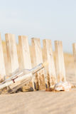 Message in a Bottle. On the beach stock images