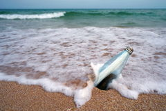 Sea. Message in the bottle on the beach. Seascape Royalty Free Stock Photos