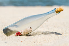 Message in a bottle on the beach. Closeup of Message in a bottle on the beach Stock Images