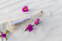 Message in a bottle on beach with flower. Message in a bottle on white sand beach with flowers Stock Photos