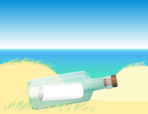 Message in a bottle beach Royalty Free Stock Images