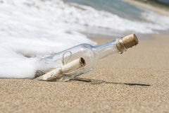 Message in a bottle. Close up Stock Image