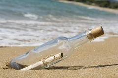 Message in a bottle. Close up Royalty Free Stock Photography