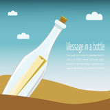 Message in a bottle concept, vector Stock Images