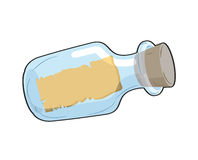 Message in bottle is empty. Glass transparent bottle with blank stock illustration