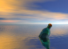 Message in a Bottle Floating on Ocean Royalty Free Stock Photography