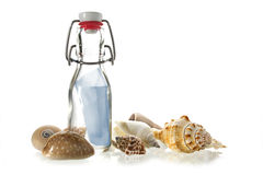 Message in a bottle  of glass between some sea shells isolated o Royalty Free Stock Photos