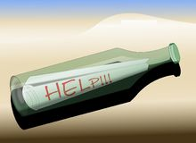 Message in a Bottle - HELP!!!. Bottled message HELP!!! washed up on the beach Royalty Free Stock Photos