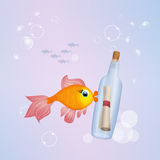Message in a bottle. Illustration of message in a bottle Royalty Free Stock Photography