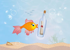 Message in a bottle. Illustration of message in a bottle Royalty Free Stock Images