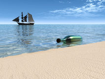 Message in a bottle lying at the waterside. Royalty Free Stock Photography